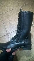 Берцы-ботинки зимние женские натуральная кожа черные Код 1215, фото 2