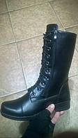 Берцы-ботинки зимние женские натуральная кожа черные Код 1215
