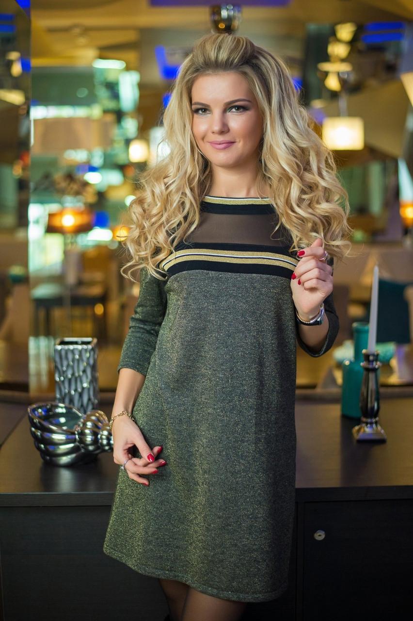 Платье цвета хаки с люрексом