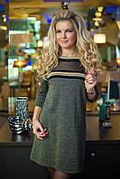 Платье цвета хаки с люрексом, фото 1