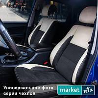 Чехлы для Chevrolet Aveo, Черный + Черный + Бежевый цвет, Экокожа + Алькантара