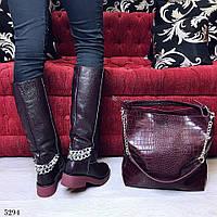 Женские сапоги зима на широком каблуке натуральная кожа