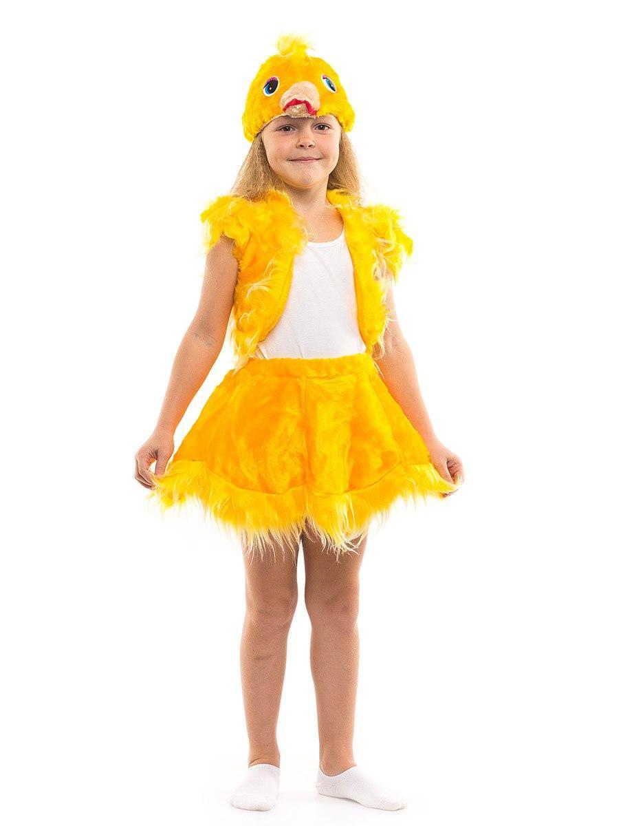 """Детский карнавальный меховой костюм """"Цыпленок"""" для девочки"""