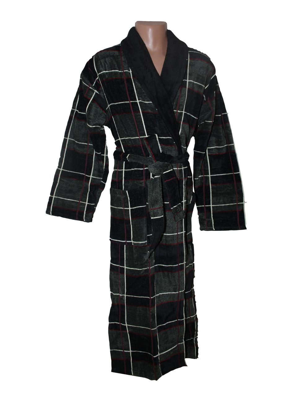 Халат для мужчин Клетка Черешки черный с зеленым 3XL