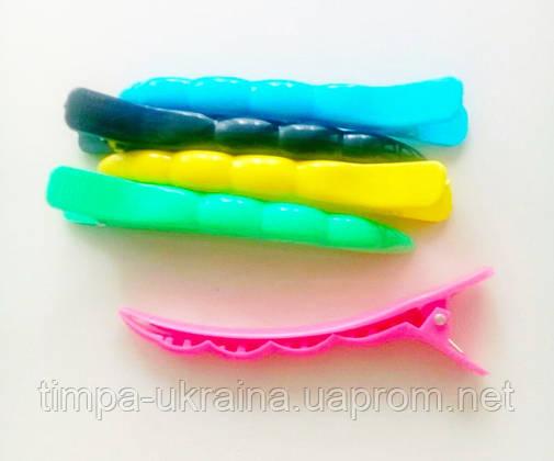 Зажим-уточка пластмасс цветная матовая (11 см), фото 2