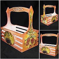 Декоративный ящик из дерева и фанеры, ручной работы, техника - декупаж, 28х28х16 см., 450 гр.