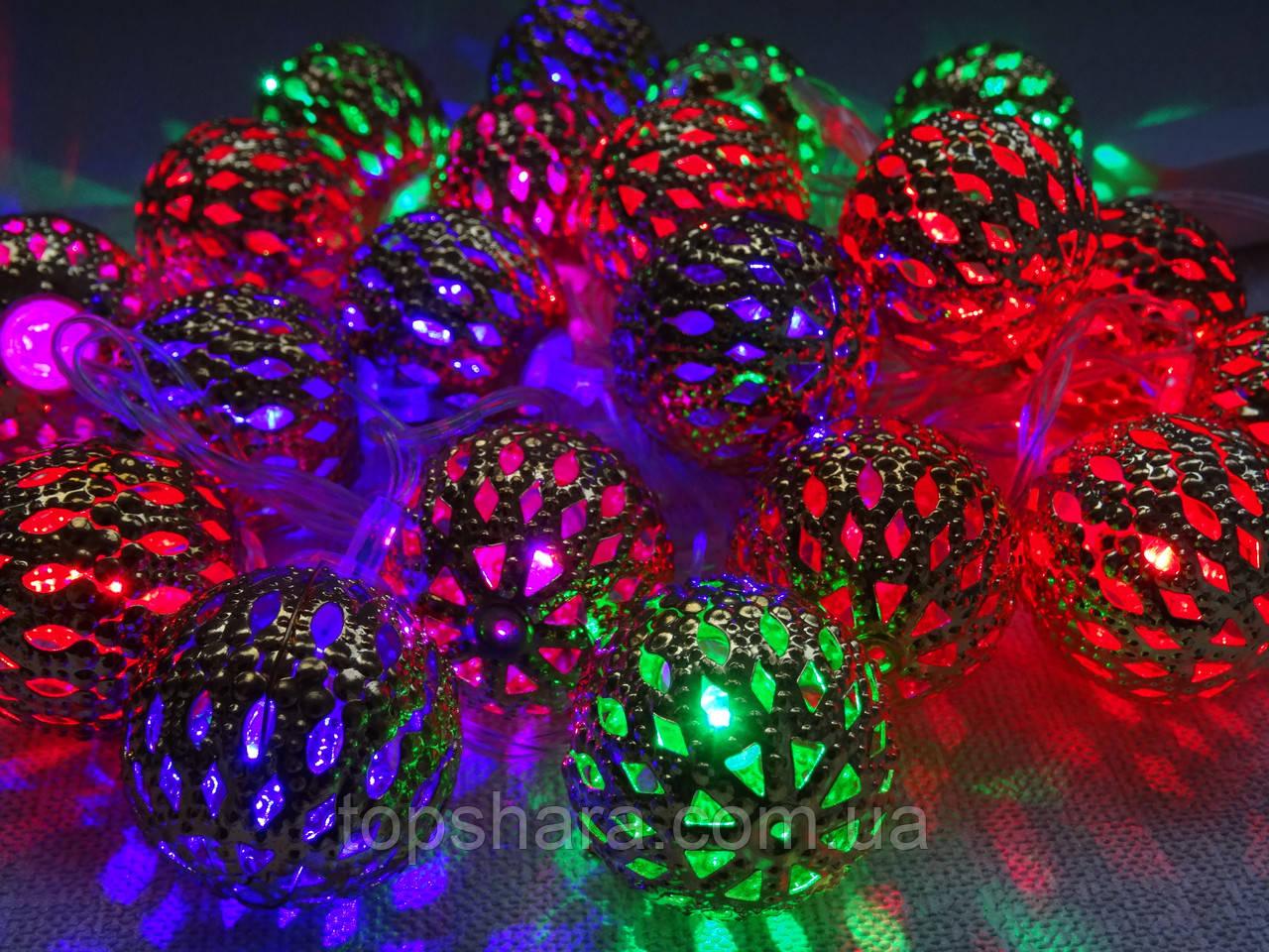 Гирлянда золотые шарики RGB мультицветные 20 шт