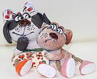 Копилка керамическая ручной работы, две собаки, Дуэт