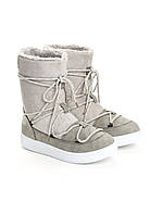 Сноубутсы женские серые, луноходы (moon boot) Vices T067-5