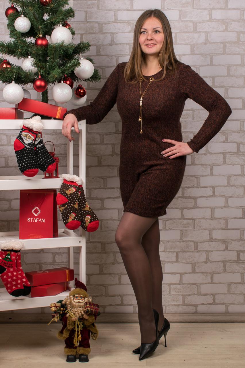 Женское теплое платье с бижутерией. RBOSSI P40. Размер 46-48.