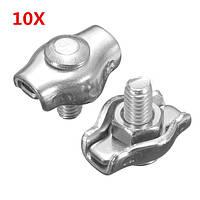 10pcs зажим из нержавеющей стальной трос простые зажимы кабельные зажимы суппорта 2 до 6 мм