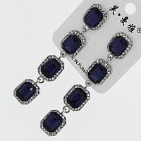 Серьги вечерние G-1053 украшены камнями Сваровски в синем цвете и стразами