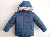 Зимова куртка для хлопчика синього кольору на флісі