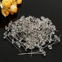 100шт прозрачные цветы Diamante булавки Свадебный букет поставок алмазов корсаж цветочном ремесле