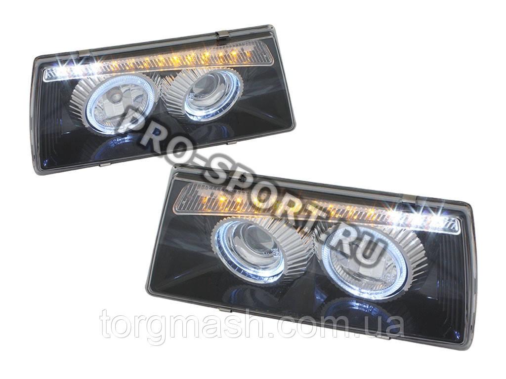 Тюнинг фары ВАЗ 2108, 2109, 21099, в стиле BMW, с поворотником, чёрные H7/H1