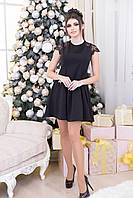 Черное женское платье с французским кружевом