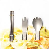 ALOCS 3 в 1 портативный посуда набор столовых приборов складной палочки для еды ложка вилка пикника кемпинга походы
