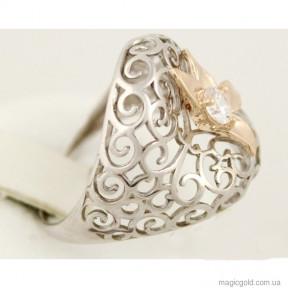 Серебряное кольцо со вставками золота