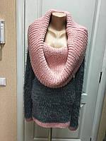 Свитер женский вязаный теплый длинный