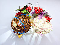Ёлочная игрушка ручной работы Ёлочный шарик светящийся 7 см. Новогодний декор (белый)