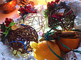 Ялинкова іграшка ручної роботи Ялинкова кулька світиться 7 див. Новорічний декор (хакі), фото 5