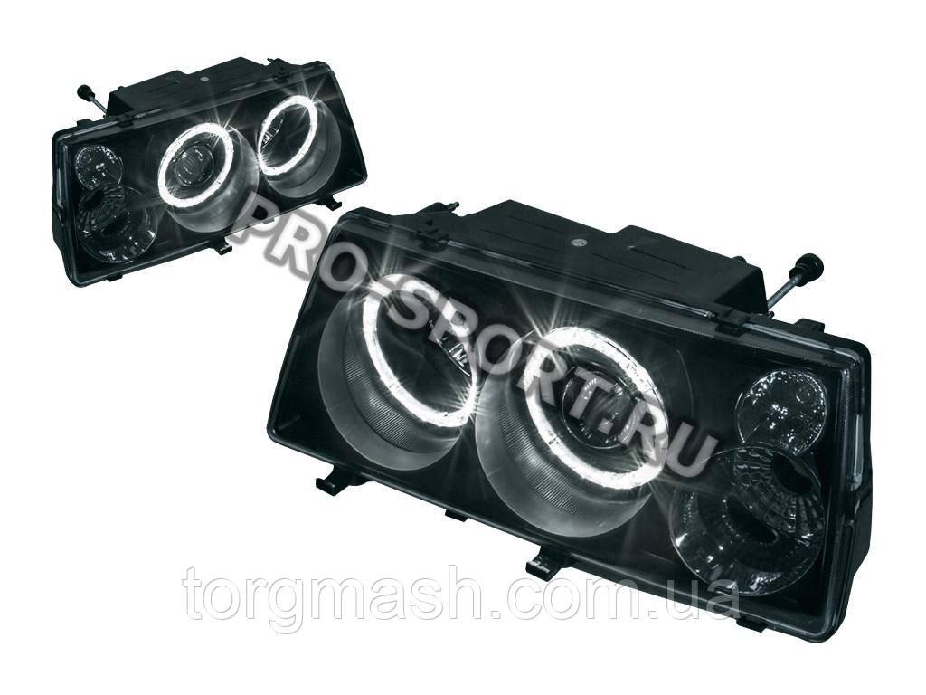 Тюнинг-фары ВАЗ 2108, 2109, 21099, в стиле Mercedes, с линзами, ангельскими глазками, поворотниками, чёрные H3