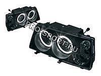 Тюнинг-фары ВАЗ 2108, 2109, 21099, в стиле Mercedes, с линзами, ангельскими глазками, поворотниками, чёрные H3, фото 1