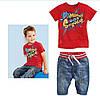Летний костюм для мальчика с шортами и красная футболка «Супер-стар»