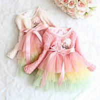 Платье нарядное с брошью для девочки «Радуга»