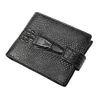 """Кожаный кошелек портмоне """"Aligator big"""" чёрный, фото 1"""