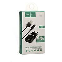СЗУ 220В - USB micro USB HOCO C12 черный