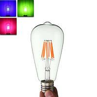 E27 st64 8w Edison rereo RGB стекло 800lm старинные лампы накаливания AC220V свет колбы лампы
