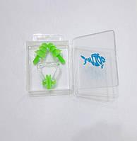Силіконові беруші + затиск для носа Dolvor [light-green/салатовий]