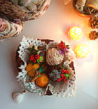 Ялинкова іграшка ручної роботи Ялинкова кулька світиться 7 див. Новорічний декор (хакі), фото 7