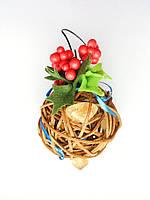 Ёлочная игрушка ручной работы Ёлочный шарик светящийся 7 см. Новогодний декор (бежевый)