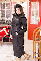 Женское черное зимнее пальто на синтепоне батал