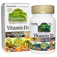 Органический Витамин D3 5000IU, Source of Life Garden, Natures Plus, 60 гелевых капсул