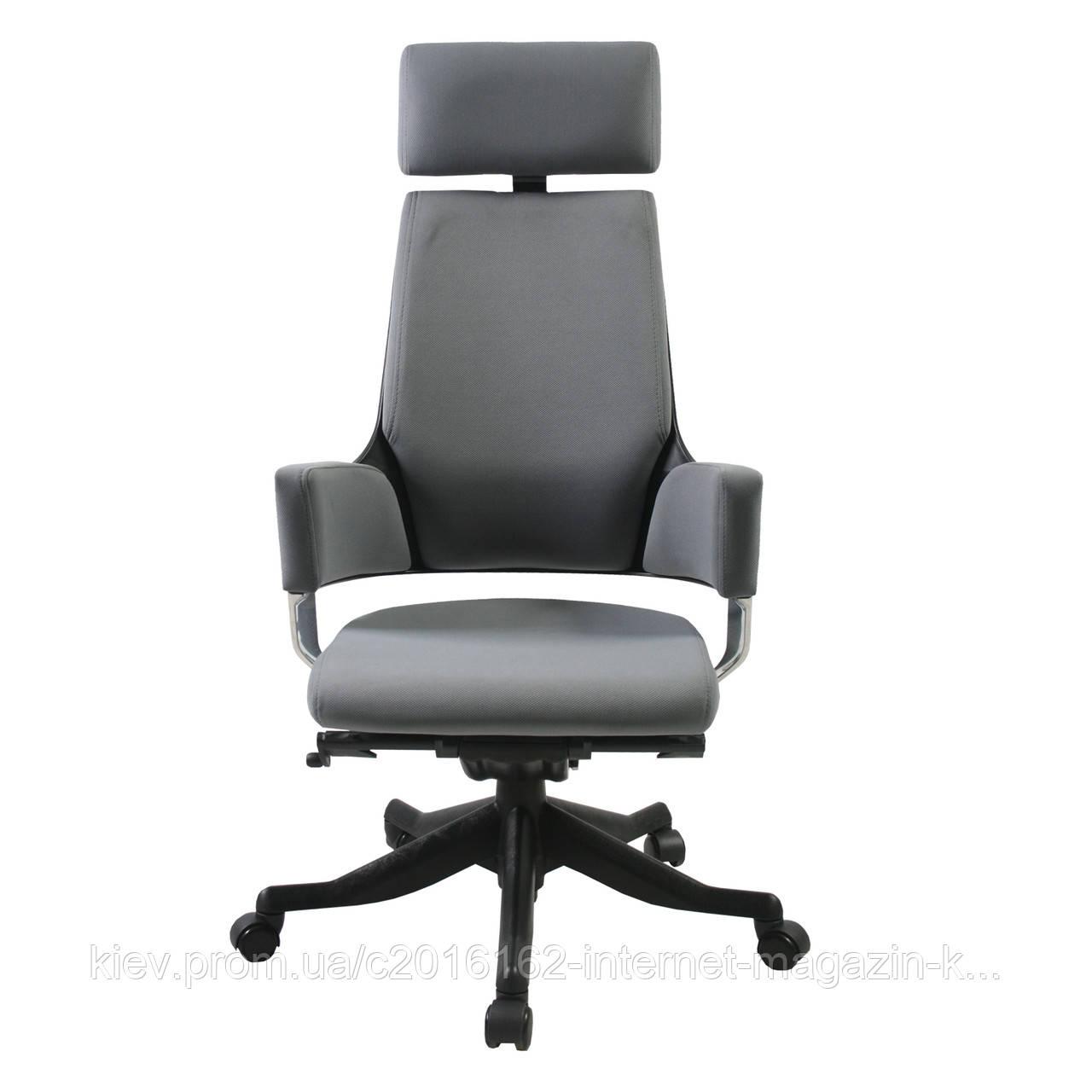 Кресло для руководителя кожаное серое DELPHI
