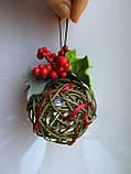 Ялинкова іграшка ручної роботи Ялинкова кулька світиться 7 див. Новорічний декор (хакі), фото 3