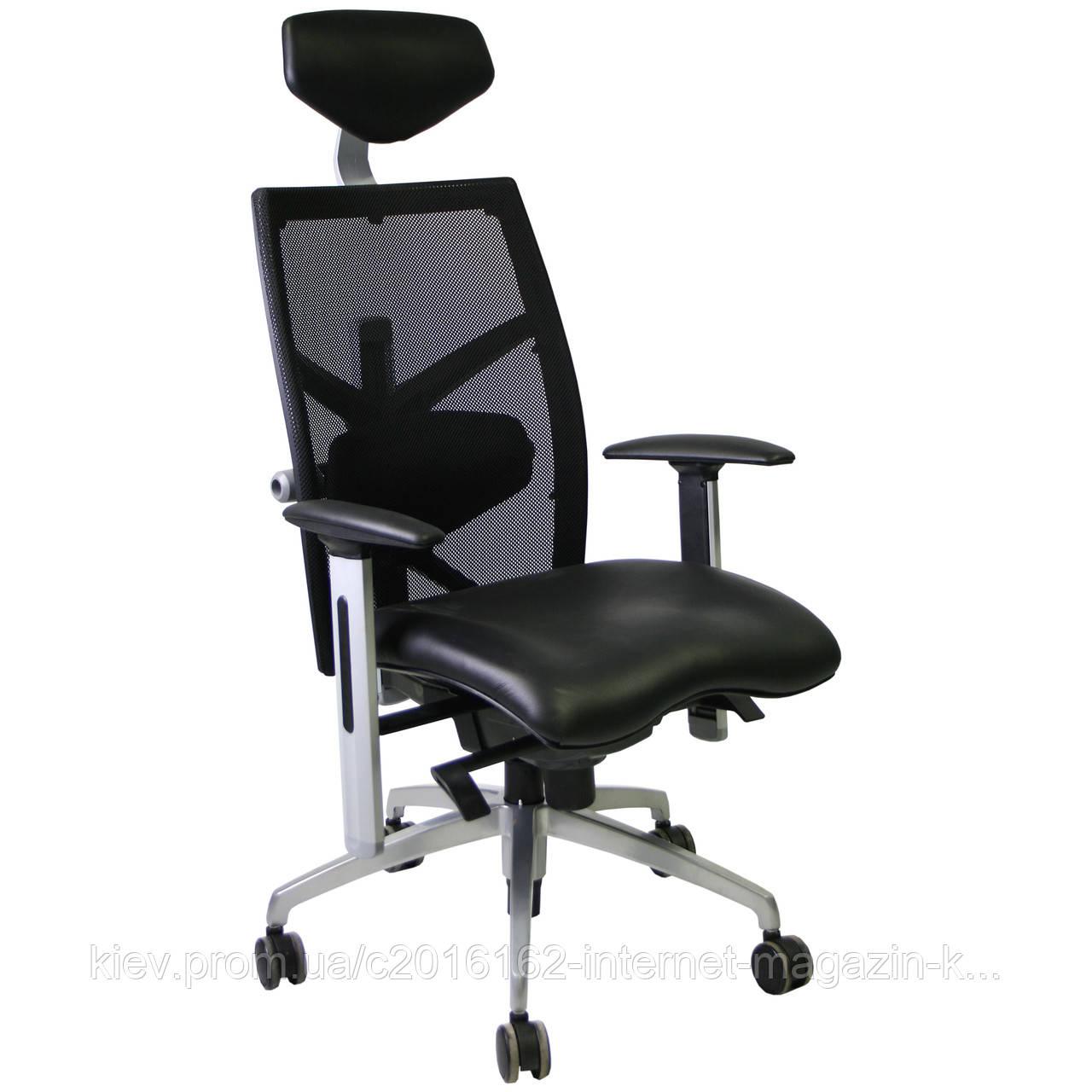 Кресло офисное EXACT Black  leather/mesh