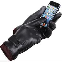Универсальные перчатки мужские для сенсорных экранов утепленные (black) код 17