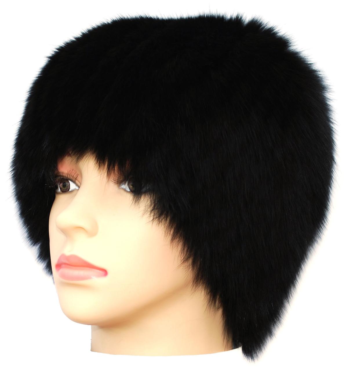 Жіноча хутрова шапка з песця,Парик (чорний)