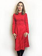 Красное женское платье на пуговицах П218