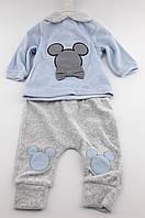Костюм для новорожденного мальчика 0 3 6 и 9 месяцев велюровый голубой костюмчик на новорожденных велюр