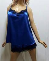 Женский атласный комплект с шортами большого размера 54,56,58 с чёрным французким кружевом, Харьков
