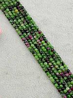 047845 Бусины Цоизит 40 см. 3 мм.  фурнитура для рукоделия из натуральных камней