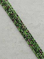 047861 Бусины Цоизит 40 см. 2 мм.  фурнитура для рукоделия из натуральных камней