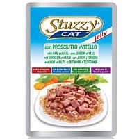 STUZZY (Штузи) Cat with Ham and Veal 100г - влажный корм для кошек с ветчиной и телятиной в желе