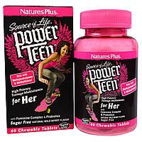 Natures Plus, Power Teen, Мультивитамины для Девушек, Вкус Лесных Ягод, 60 жевательных таблеток