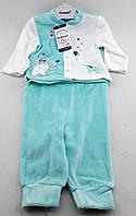 Костюм для новорожденного мальчика 6 9 и 12 месяцев велюровый бирюзовый костюмчик на новорожденных велюр